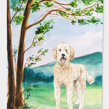 Under the Tree Goldendoodle Flag Canvas House Size CK2573CHF