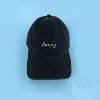 HONEY Baseball Cap Dad Hat Casquette Strap Back Black White Embroidered Unisex Adjustable Cotton Baseball Hat