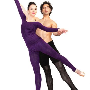 Ballet Dance Warm Up Off Shoulder Dress & Matching Stretch Knit Low Rise KD dance & Yoga Leggings