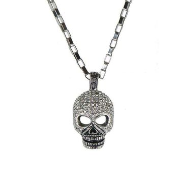 CZ Diamonds Skull and Link Chain Necklace for Men