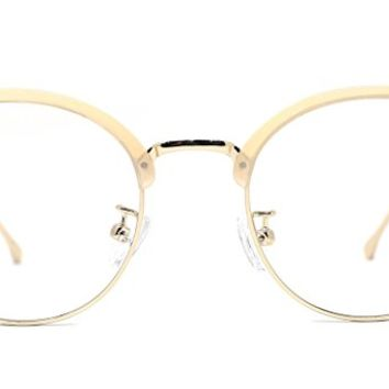 TIJN Womens Designer Inspired Semi-rimless Round Lens Large Eyeglasses