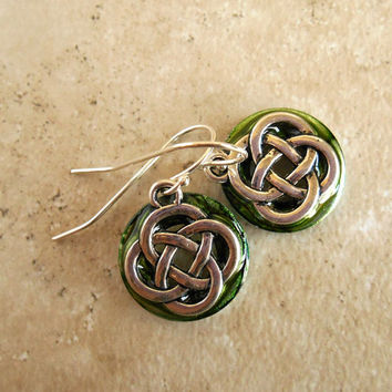 Celtic Knot Earrings: Green - Dangle Earrings - Sterling Silver - Spring Colors - Irish Earrings - Celtic Jewelry - Mothers Day