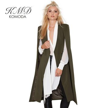 KMD KOMODA Fashion 8 Colors Casual Trench Coat Women Loose Cape Poncho Outwear Female Open Vintage Elegant Outwear Ladies