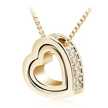 FREE Shipping! Quality Austrian Double Heart Necklace.