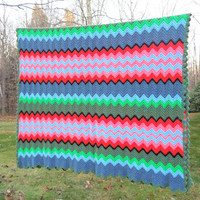 "Multicolored crochet afghan throw blanket in blue green pink coral black chevron zig zag pattern 78"" x 47"""