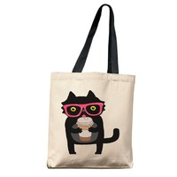 Hipster Cat with Coffee Tote Bag