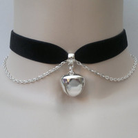 Large Silver Plated JINGLE BELL With Chain BLACK 16mm Velvet Ribbon Choker Necklace -na... or choose another colour velvet, custom made :)