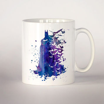 Batman coffee mug, Batman watercolor Tea Cup,  coffee cup 11 oz. Mug art, Ceramic Mug art Dark knight Batman Fan Gift, Superhero art