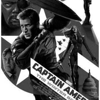 Captain America Winter Soldier poster Metal Sign Wall Art 8in x 12in Black and White
