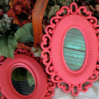 Small Vintage Accent Mirror Pair Upcycled Bright Coral Wicker