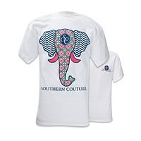 Southern Couture Preppy Elephant Chevron Pattern Comfort Colors White Girlie  Bright T Shirt