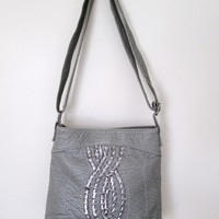 Red by Marc Ecko Purse Gray and Silver Leather Look Cross Body Shoulder Bag