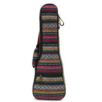 Soft Padded Cotton Folk Style Portable Bag Case Cover Backpack Double Shoulder For Ukulele 21'' 23'' 26'' Small Guitar Gig Bag