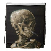 Skull with Burning Cigarette Vincent van Gogh Art Drawstring Backpack