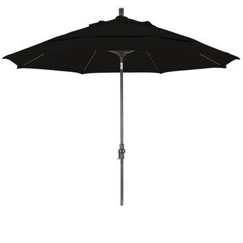 11 Foot Sunbrella 3A Fabric Fiberglass Rib Crank Lift Collar Tilt Aluminum Patio Umbrella with Bronze Pole, 48 Colors