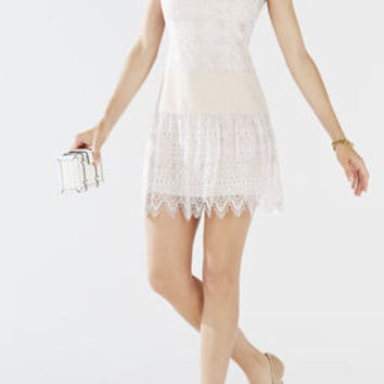MARSHA COLLARED GEOMETRIC LACE DRESS