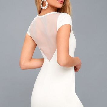 Bless this Mesh White Mesh Bodycon Dress
