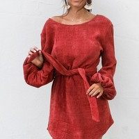 Rolling In Rust Chenille Tie Sweater Dress