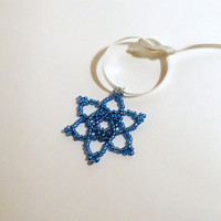 Beaded snowflake Christmas decoration blue
