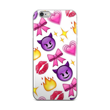 Fire Flame Red Lips Pink Hearts Pink Bow Glowing Stars & Purple Devil Emoji Collage iPhone 4 4s 5 5s 5C 6 6s 6 Plus 6s Plus 7 & 7 Plus Case