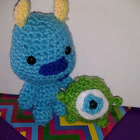 Mike and Sully Monsters Inc Crocheted Amigurumi