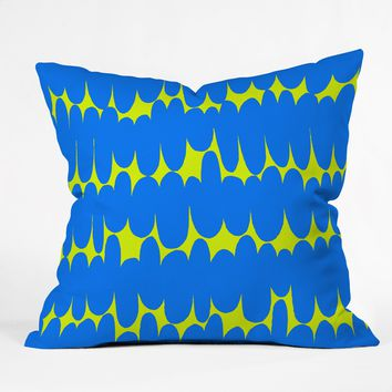 Sarah Bagshaw Lime And Blue Throw Pillow