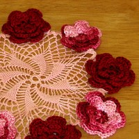 Roses on Pink Whirl - Irish Crochet Flower Art Decor by RSS Designs In Fiber