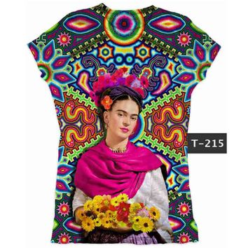 Frida Kahlo Graphic Tee T-Shirt Huichol