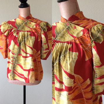 Vintage Hawaiian Blouse Jaff by Carol Anderson Shirt Vintage Top Women's Medium to Large