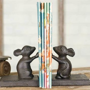 Cast Iron Mouse Bookends