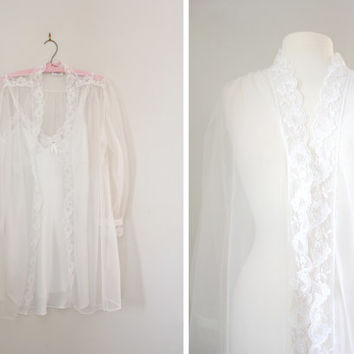 Vintage Bridal Wedding Peignoir Set - Negligee Dress Slip Lingerie with Lace Bed Jacket - Baby Doll Lingerie - Size Small