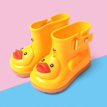Children rubber boots baby Girls Boys Cartoon duck Rain boots Infant Kids Waterproof Non-Slip Rainboots Rain Shoes For Kids