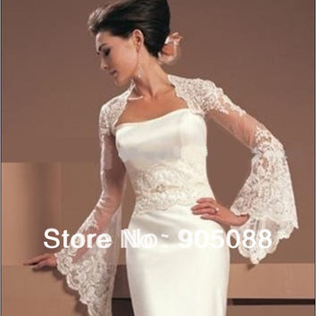 Long Trumpet Sleeve Lace Jacket Bolero Shrug Wrap Stole for wedding Dress Gown