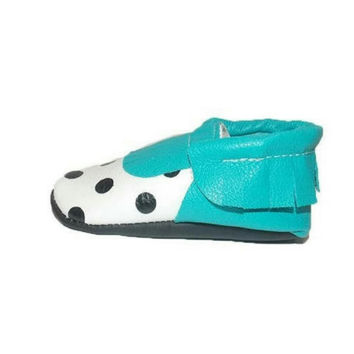 Polk A Dot Moccasins Aqua or Pink with Black Dots on White Leather
