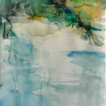 Watercolor original, green, landscape painting, branches of the pond, unique landscape painting, exceptional wall decor, ready for shipment