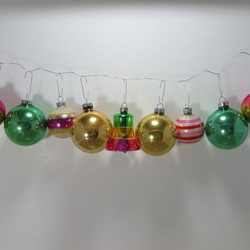 Vintage Christmas Tree Ornaments Metallic Ornaments Bell Glass Ornaments Shiny Brite Ornaments Striped Ornaments