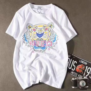 KENZO Unisex Fashion Print Tiger Head T-Shirt G-A-XYCL
