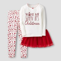 Baby Girls' 3-Piece Christmas Cotton Pajama Set with Tutu - Red & White - Just One You™ Made by Carter's®