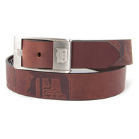 Detroit Tigers MLB Men's Embossed Leather Belt (Size 38)