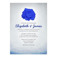 Trendy Floral Navy Blue Wedding Invitations