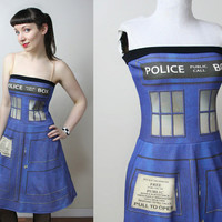 DOCTOR WHO Tardis police box dress - handmade to order - smarmyclothes cosplay costume