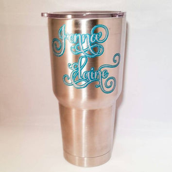 Monogram decal mug tumbler cup sticker glitter vinyl decal custom vinyl decal