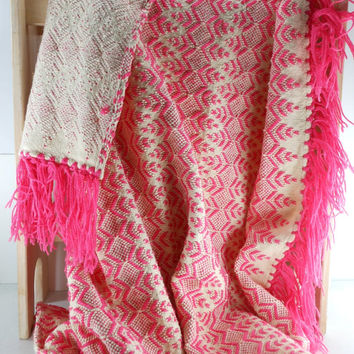 Hand Woven Blanket Throw Wool Yarn Vintage OOAK