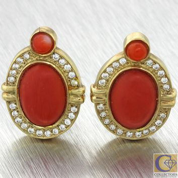 Vtg Estate Solid 14k Yellow Gold Coral Diamond Pierced Omega Back Earrings