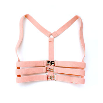 Pastel Pink Stretch Underbust Cage Harness -  Silver buckles - S/M