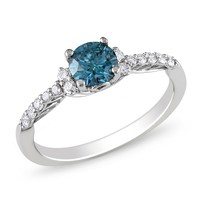 Blue and White Diamond Fashion Ring in 14k White Gold