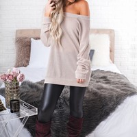 Forget The World Lace-Up Sweater (Taupe)