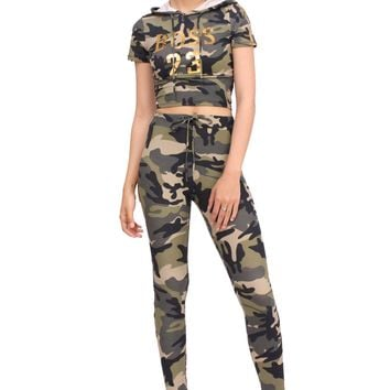 Boss 23 Drawstring Stretchy Camo Gold Stripe Crop Hoodie Set