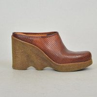 "70s FAMOLARE ""hi---up"" rare genuine leather italian made WAVY WEDGE platforms, size 8.5 39 6"