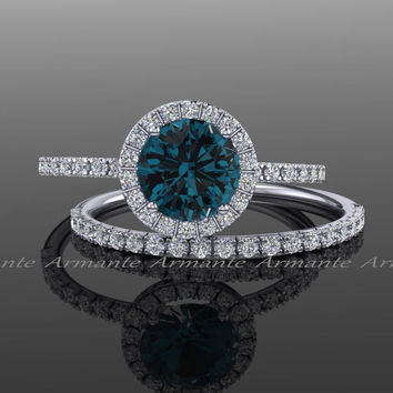 London Blue Topaz Engagement Set, Diamond Alternative 14k White Gold White Sapphire Halo Wedding Set Re00074wltz